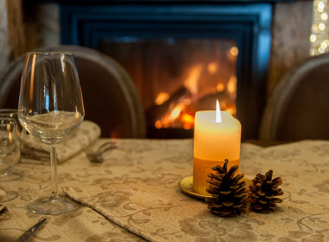 Candle and fireplace