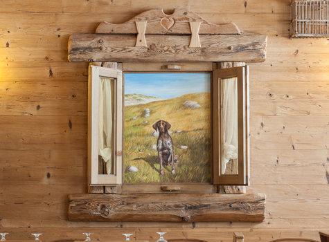Painted hunting dog window